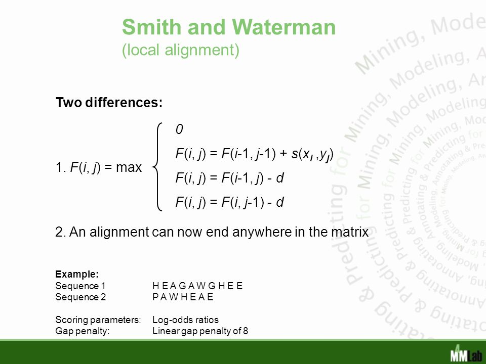 Smith and Waterman (local alignment)