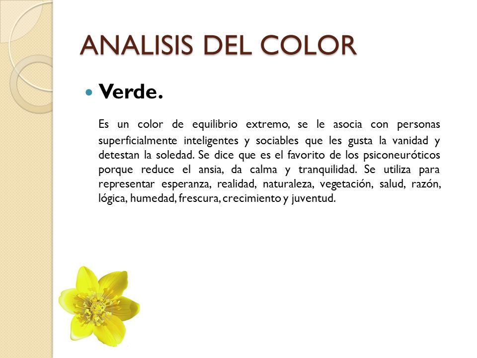 ANALISIS DEL COLOR Verde.