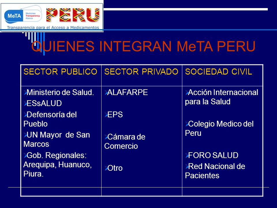 QUIENES INTEGRAN MeTA PERU