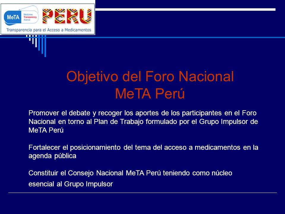 Objetivo del Foro Nacional MeTA Perú