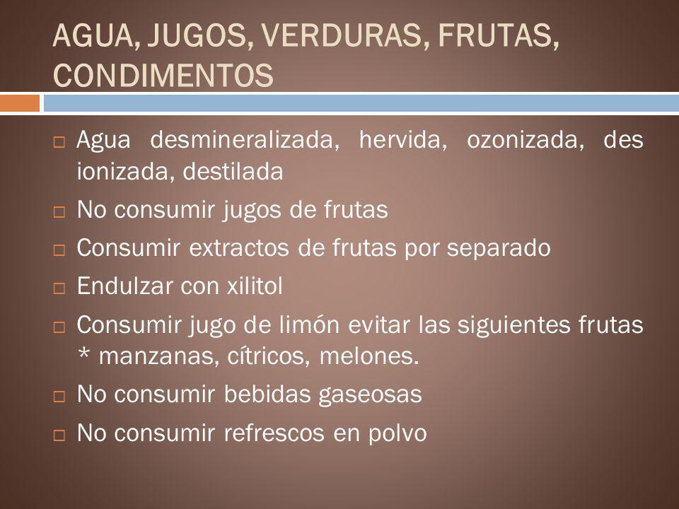 AGUA, JUGOS, VERDURAS, FRUTAS, CONDIMENTOS