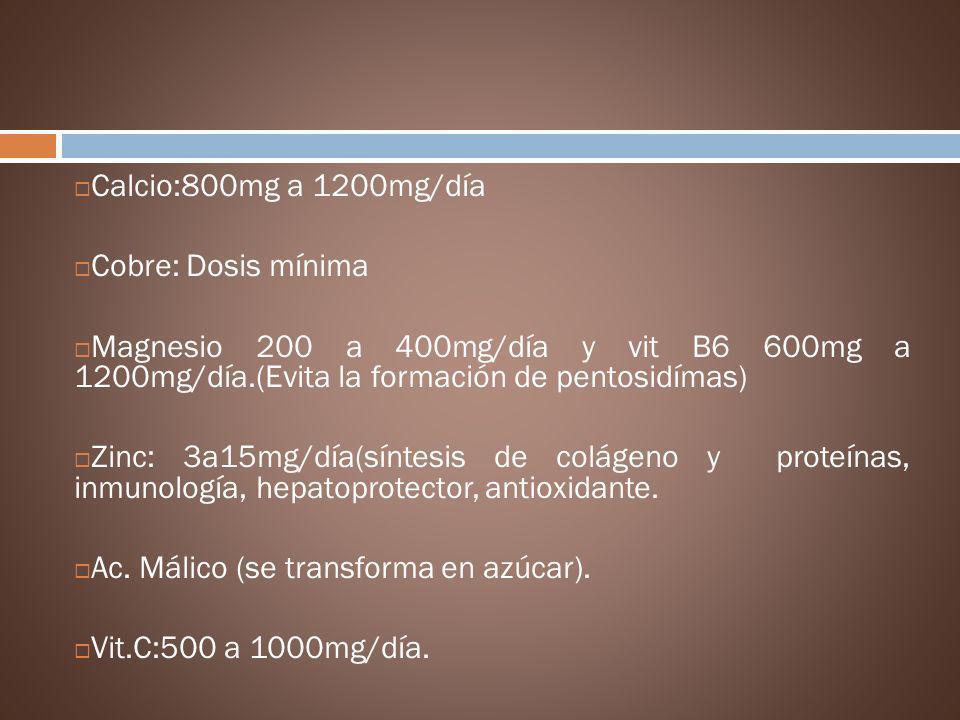Ac. Málico (se transforma en azúcar). Vit.C:500 a 1000mg/día.