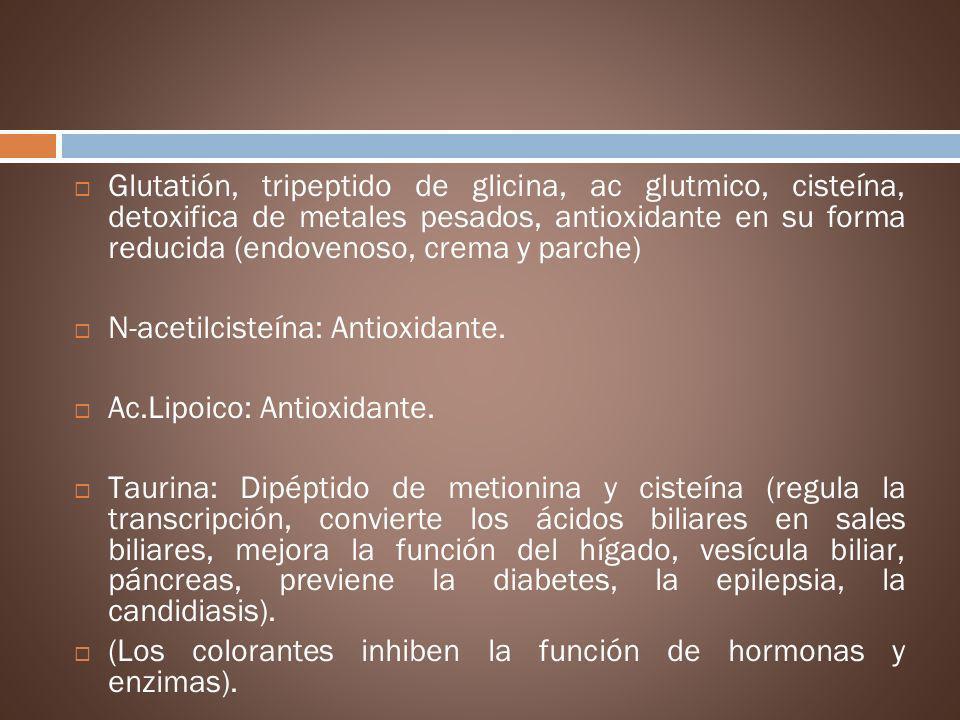 N-acetilcisteína: Antioxidante. Ac.Lipoico: Antioxidante.