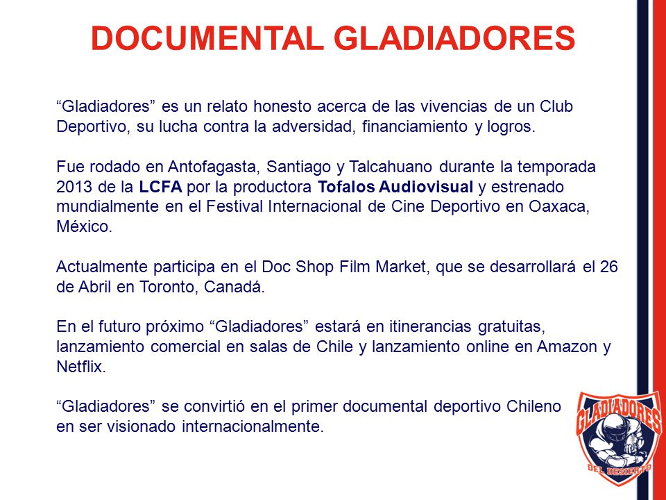 DOCUMENTAL GLADIADORES
