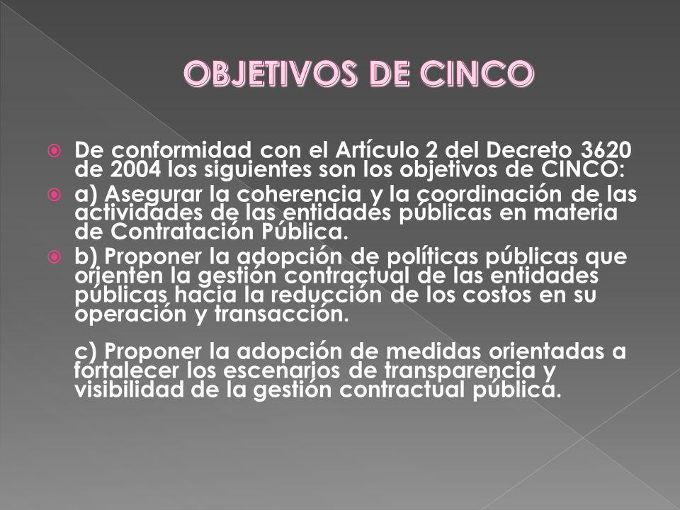 OBJETIVOS DE CINCODe conformidad con el Artículo 2 del Decreto 3620 de 2004 los siguientes son los objetivos de CINCO: