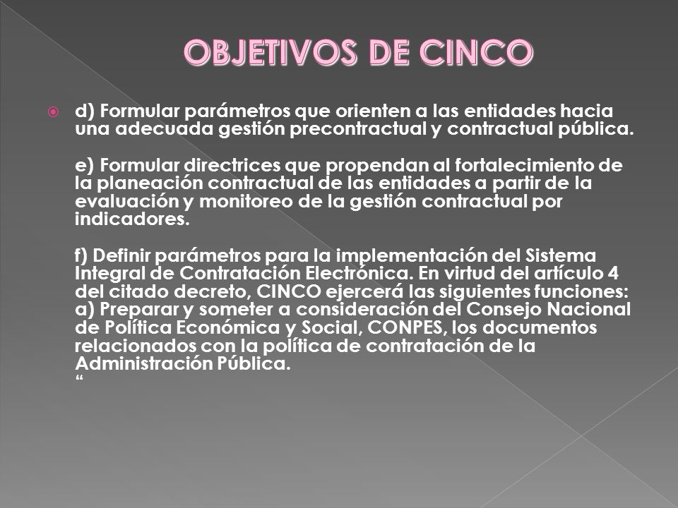 OBJETIVOS DE CINCO