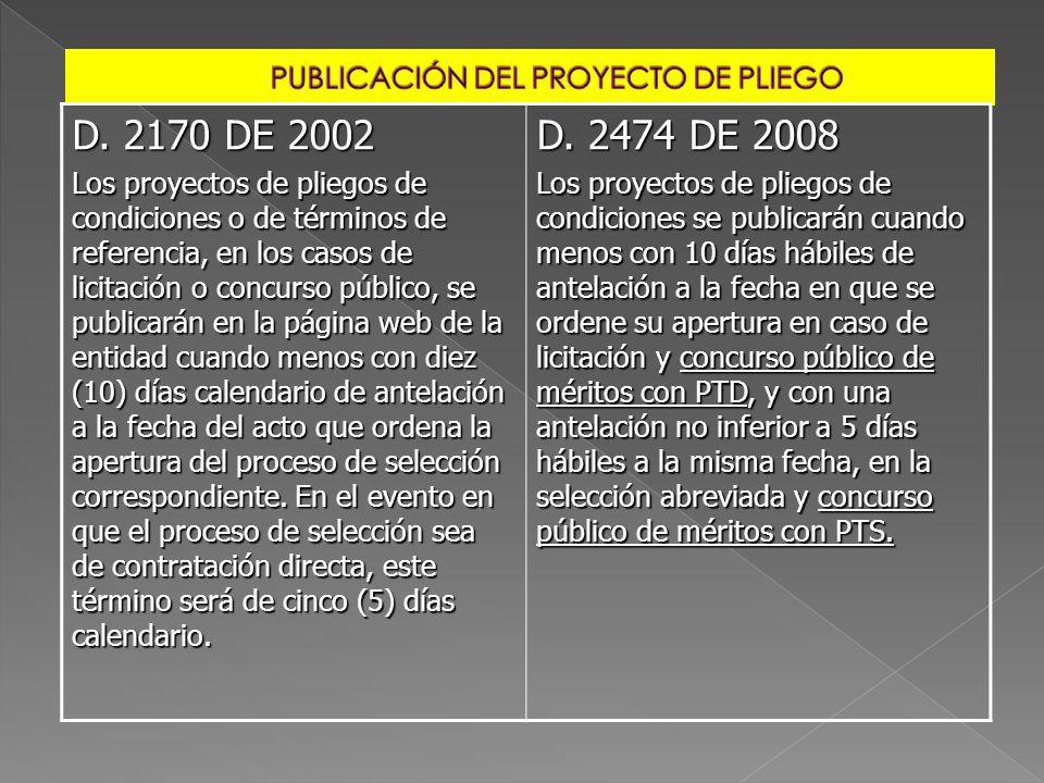 PUBLICACIÓN DEL PROYECTO DE PLIEGO