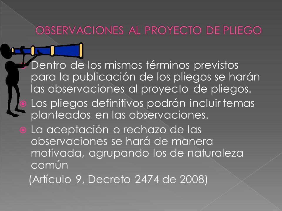 OBSERVACIONES AL PROYECTO DE PLIEGO