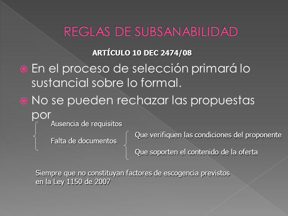 REGLAS DE SUBSANABILIDAD
