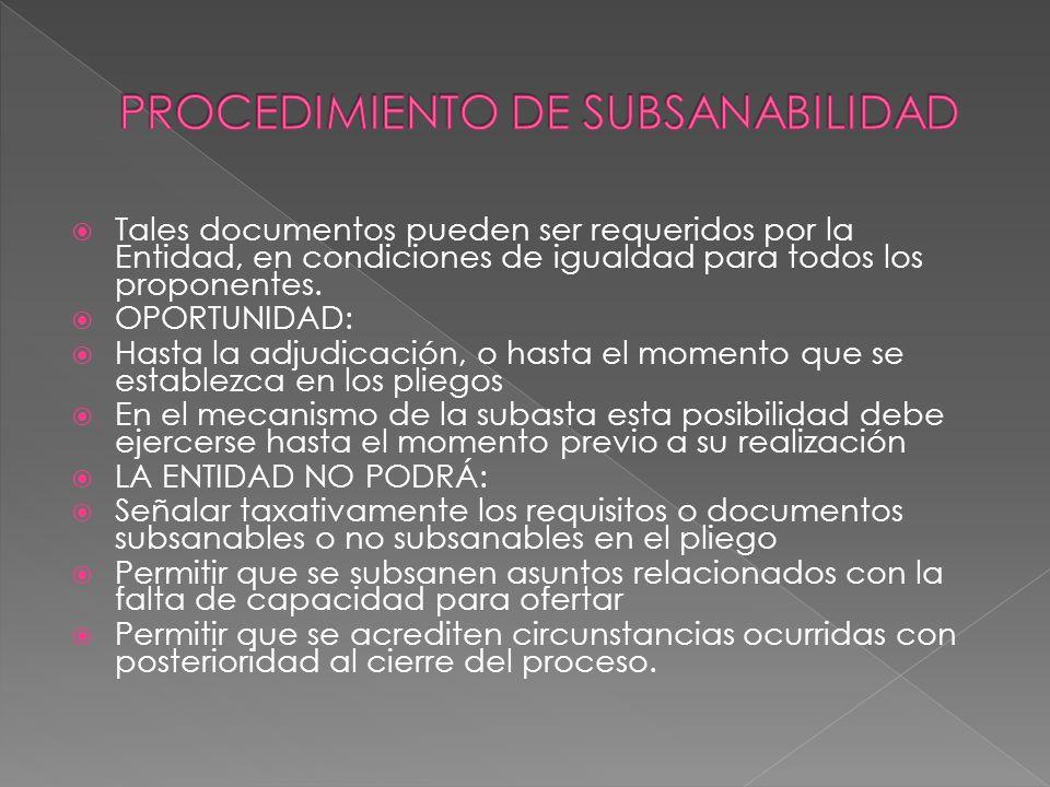 PROCEDIMIENTO DE SUBSANABILIDAD