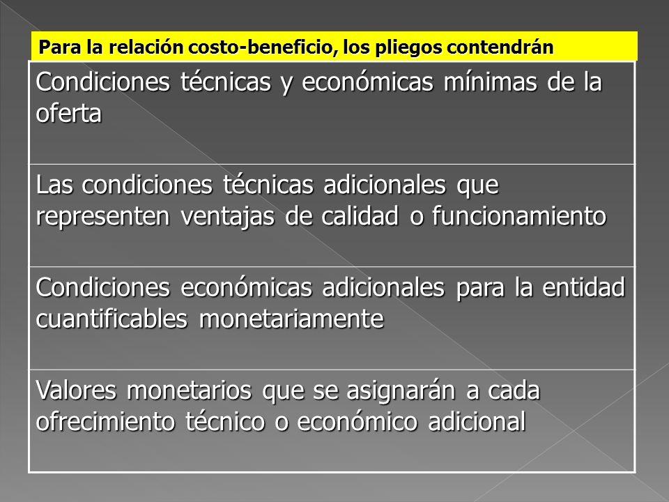 Condiciones técnicas y económicas mínimas de la oferta