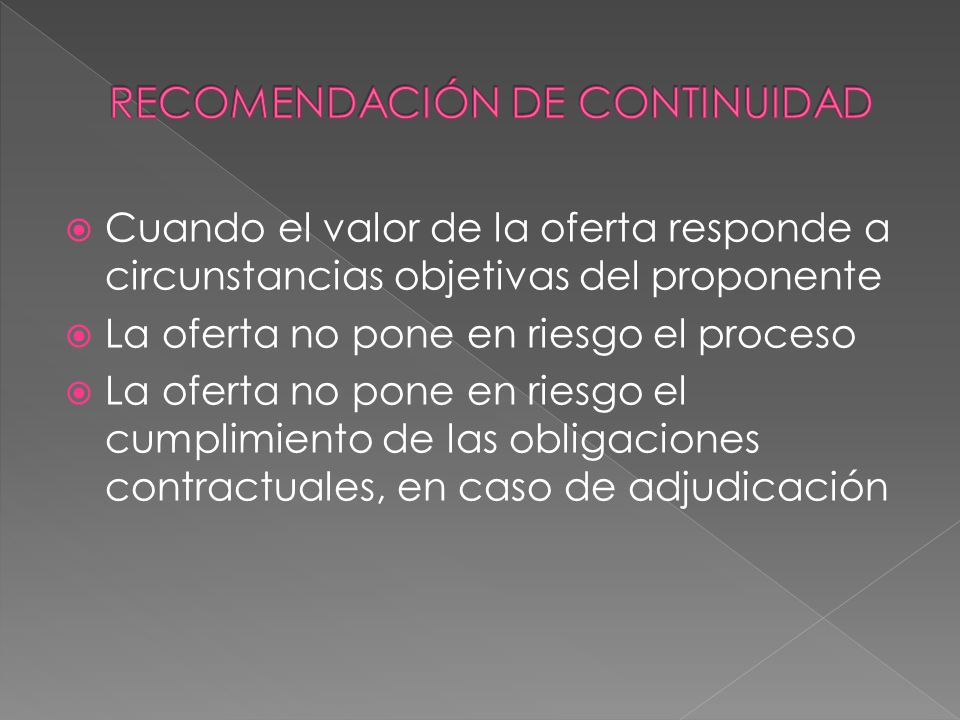 RECOMENDACIÓN DE CONTINUIDAD