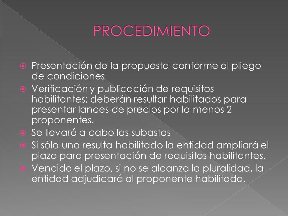 PROCEDIMIENTO Presentación de la propuesta conforme al pliego de condiciones.