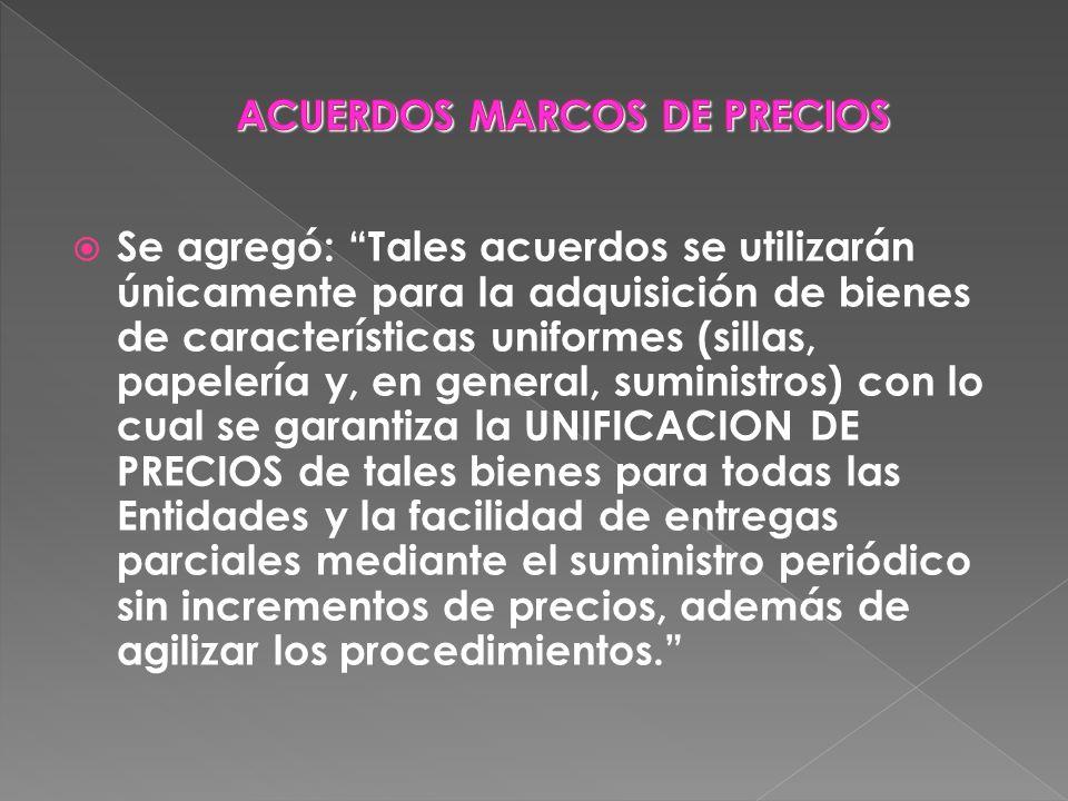 ACUERDOS MARCOS DE PRECIOS