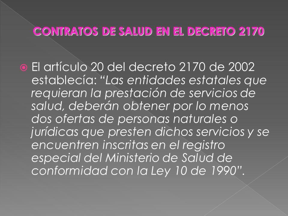 CONTRATOS DE SALUD EN EL DECRETO 2170