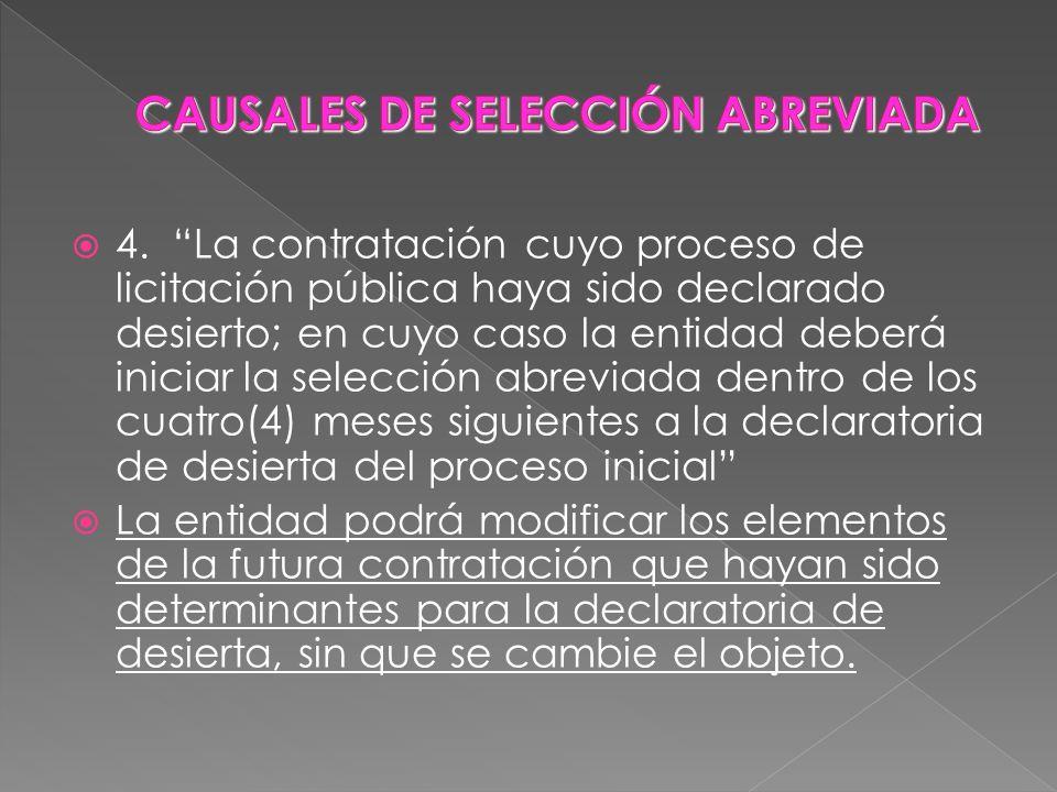 CAUSALES DE SELECCIÓN ABREVIADA