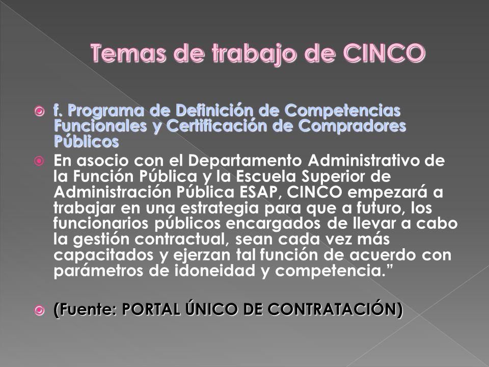 Temas de trabajo de CINCO