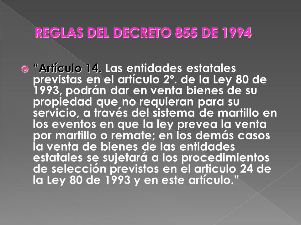 REGLAS DEL DECRETO 855 DE 1994