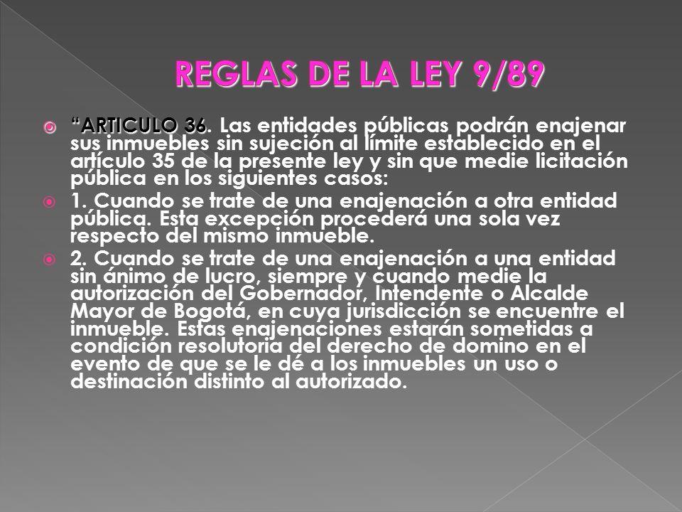 REGLAS DE LA LEY 9/89