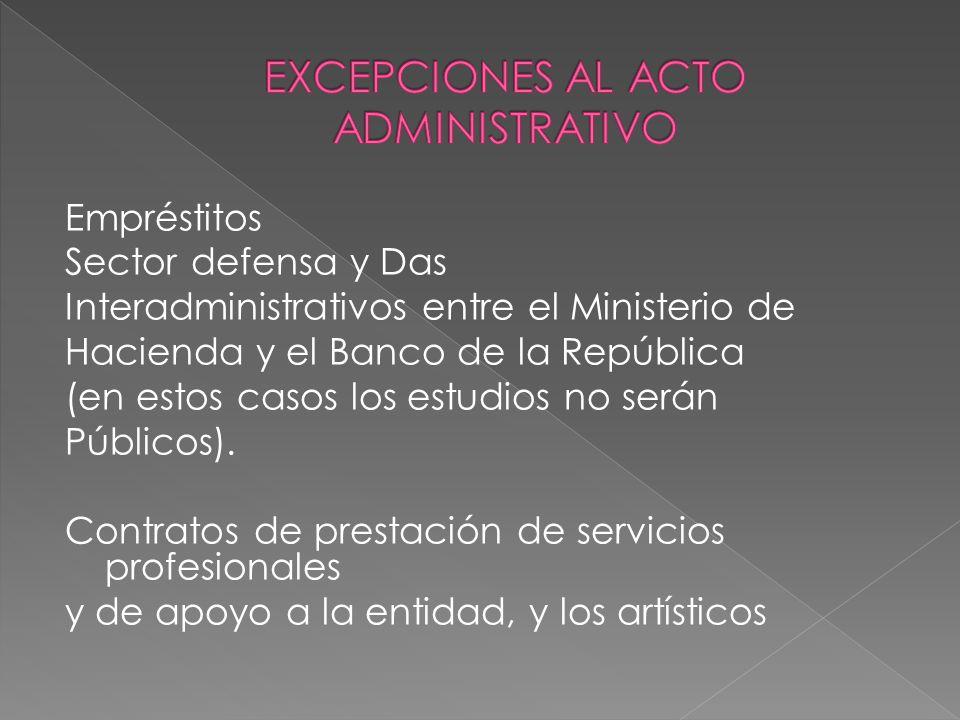 EXCEPCIONES AL ACTO ADMINISTRATIVO