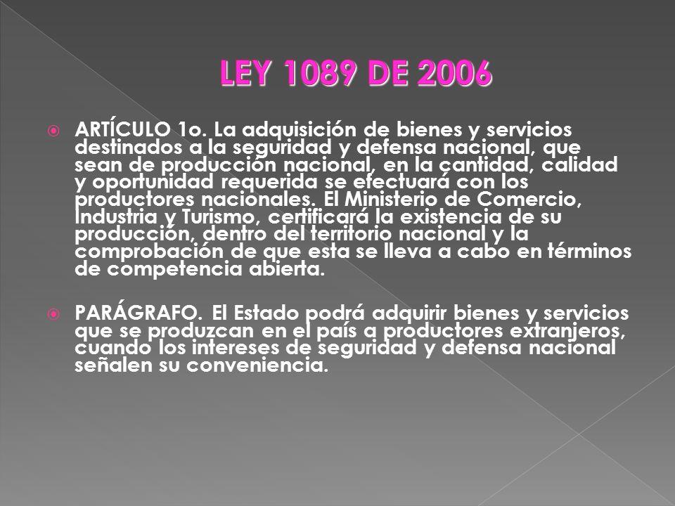 LEY 1089 DE 2006