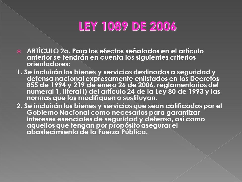 LEY 1089 DE 2006 ARTÍCULO 2o. Para los efectos señalados en el artículo anterior se tendrán en cuenta los siguientes criterios orientadores: