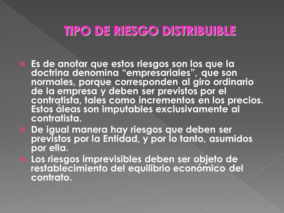 TIPO DE RIESGO DISTRIBUIBLE