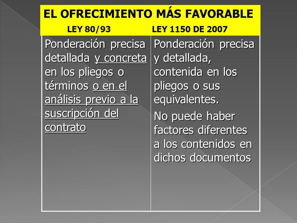 EL OFRECIMIENTO MÁS FAVORABLE
