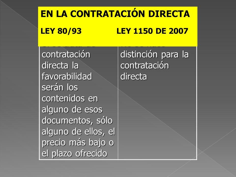 EN LA CONTRATACIÓN DIRECTA