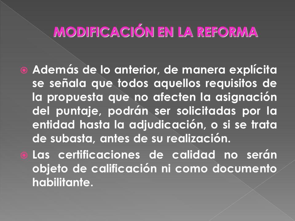 MODIFICACIÓN EN LA REFORMA