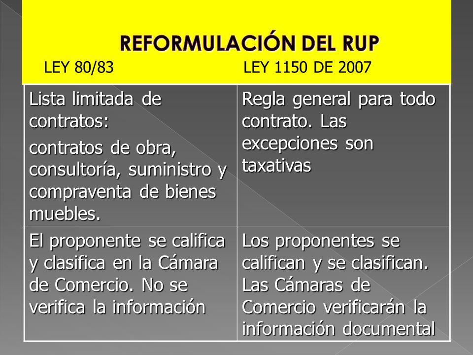 REFORMULACIÓN DEL RUP Lista limitada de contratos: