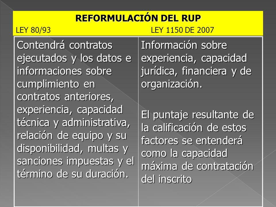 REFORMULACIÓN DEL RUP LEY 80/93 LEY 1150 DE 2007.