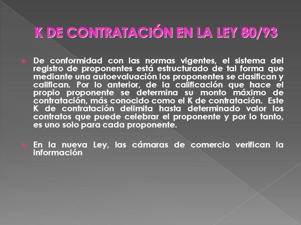 K DE CONTRATACIÓN EN LA LEY 80/93