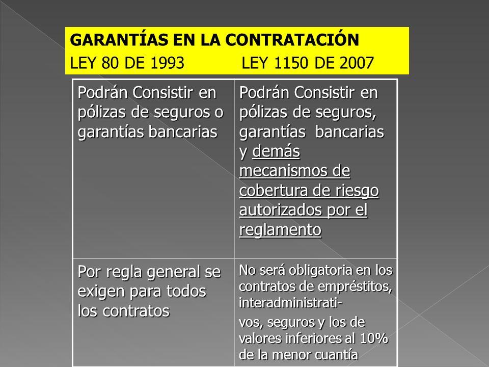 GARANTÍAS EN LA CONTRATACIÓN LEY 80 DE 1993 LEY 1150 DE 2007