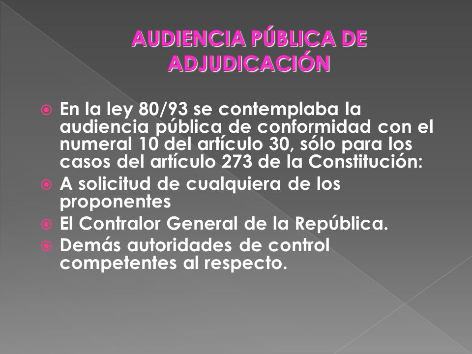 AUDIENCIA PÚBLICA DE ADJUDICACIÓN