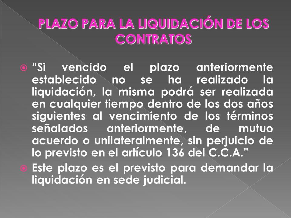PLAZO PARA LA LIQUIDACIÓN DE LOS CONTRATOS