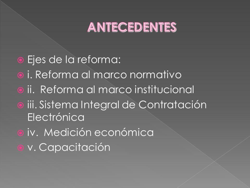 ANTECEDENTES Ejes de la reforma: i. Reforma al marco normativo