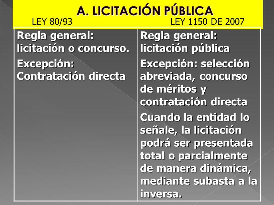 A. LICITACIÓN PÚBLICA Regla general: licitación o concurso.