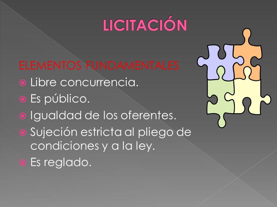 LICITACIÓN ELEMENTOS FUNDAMENTALES Libre concurrencia. Es público.