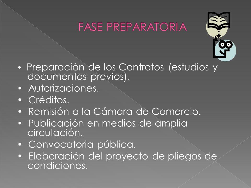 FASE PREPARATORIA • Autorizaciones. • Créditos.