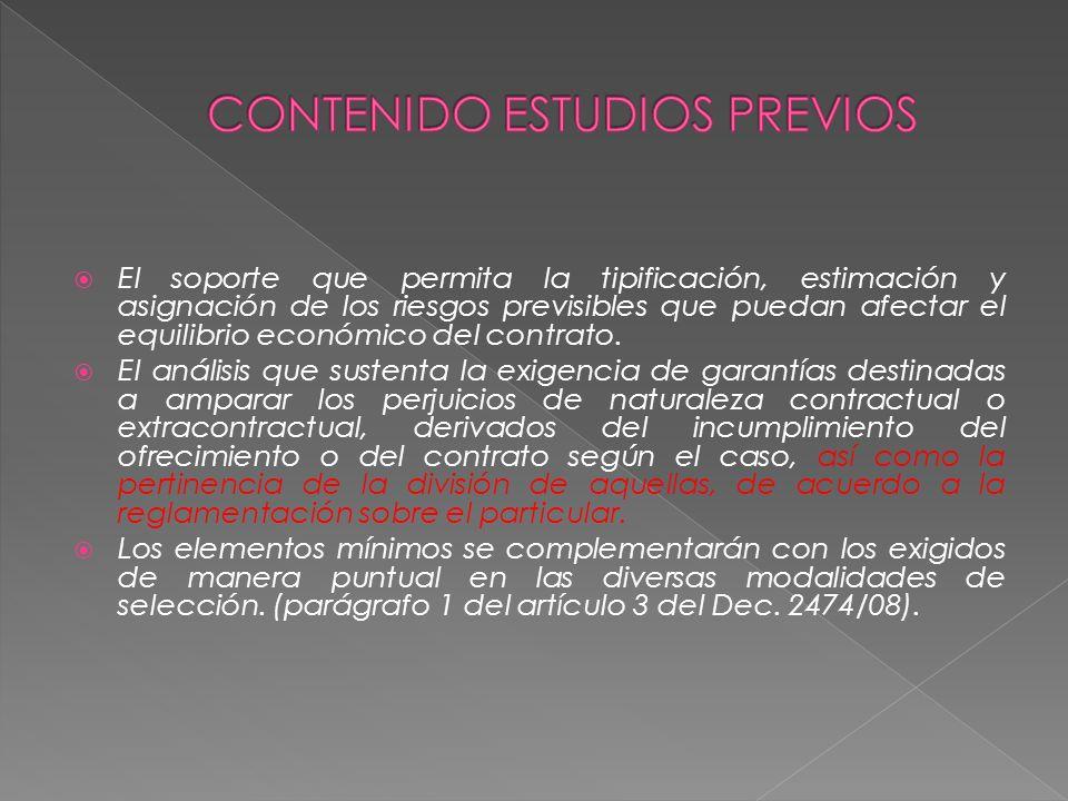 CONTENIDO ESTUDIOS PREVIOS