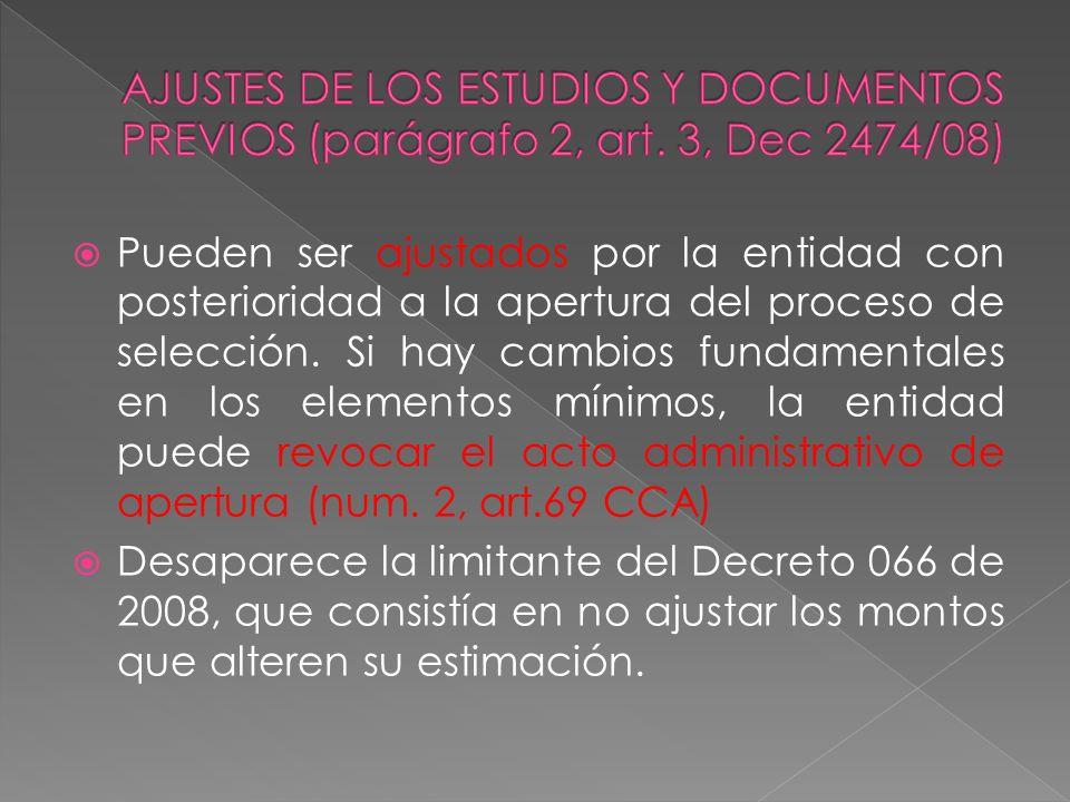 AJUSTES DE LOS ESTUDIOS Y DOCUMENTOS PREVIOS (parágrafo 2, art