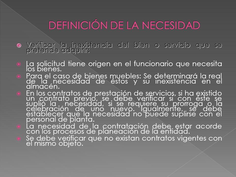 DEFINICIÓN DE LA NECESIDAD
