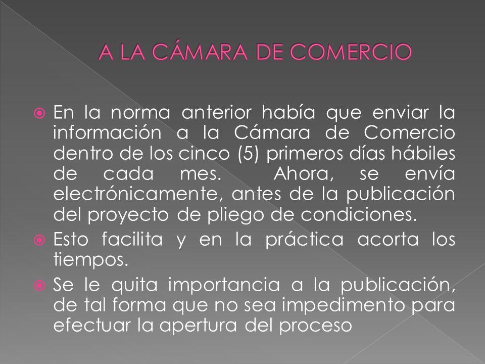 A LA CÁMARA DE COMERCIO