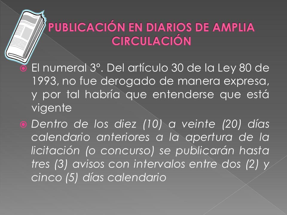 PUBLICACIÓN EN DIARIOS DE AMPLIA CIRCULACIÓN