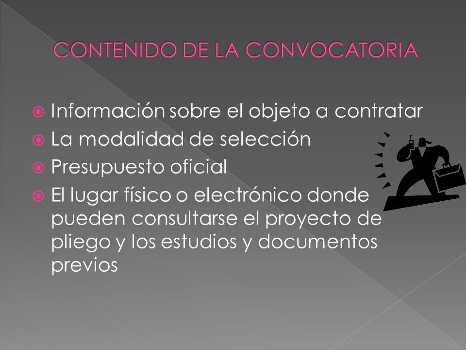 CONTENIDO DE LA CONVOCATORIA