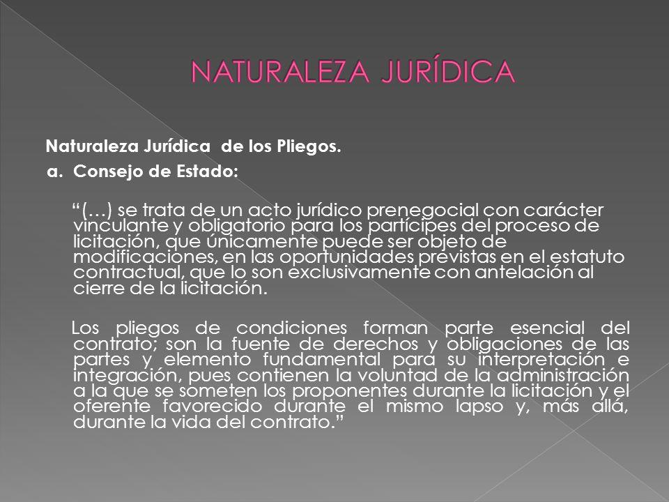 NATURALEZA JURÍDICA Naturaleza Jurídica de los Pliegos. a. Consejo de Estado: