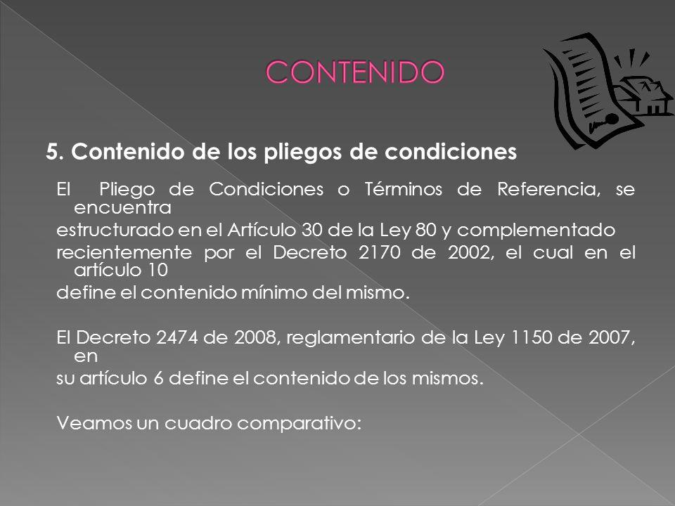 CONTENIDO 5. Contenido de los pliegos de condiciones