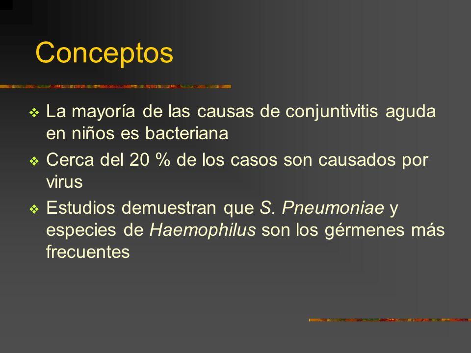 Conceptos La mayoría de las causas de conjuntivitis aguda en niños es bacteriana. Cerca del 20 % de los casos son causados por virus.
