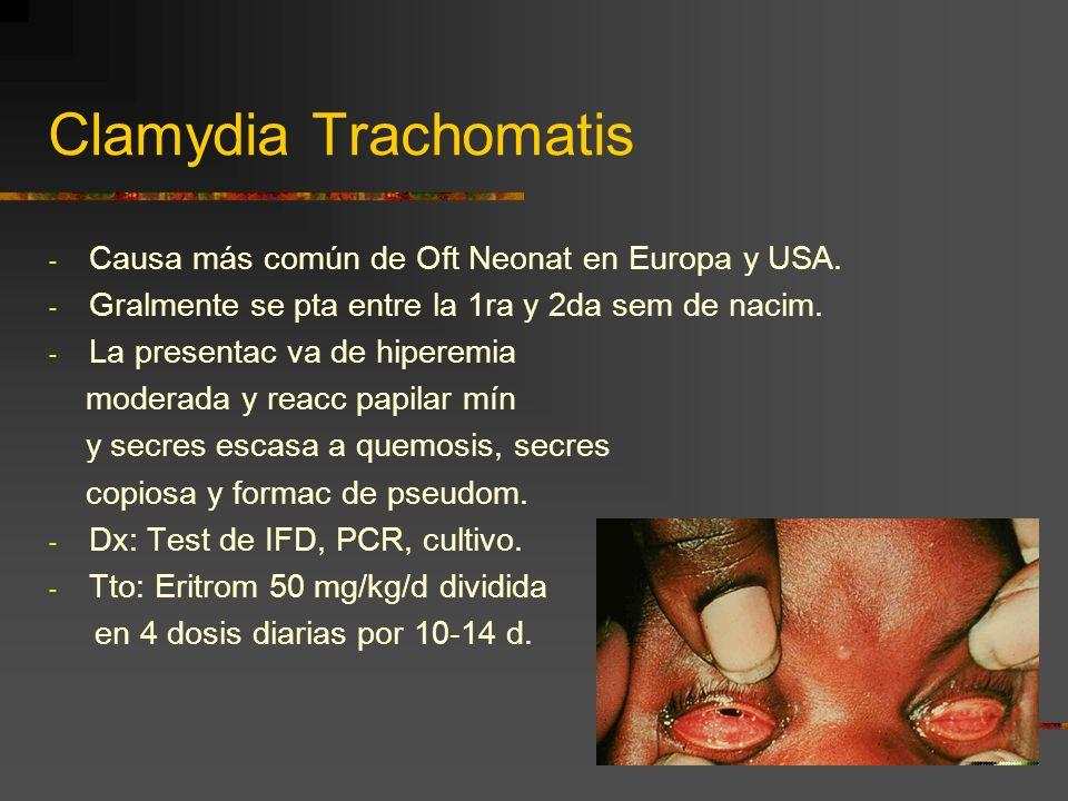 Clamydia Trachomatis Causa más común de Oft Neonat en Europa y USA.